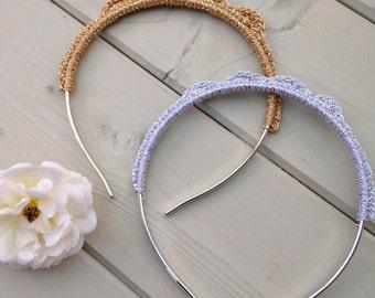 Gold/silver crochet tiara/hairband