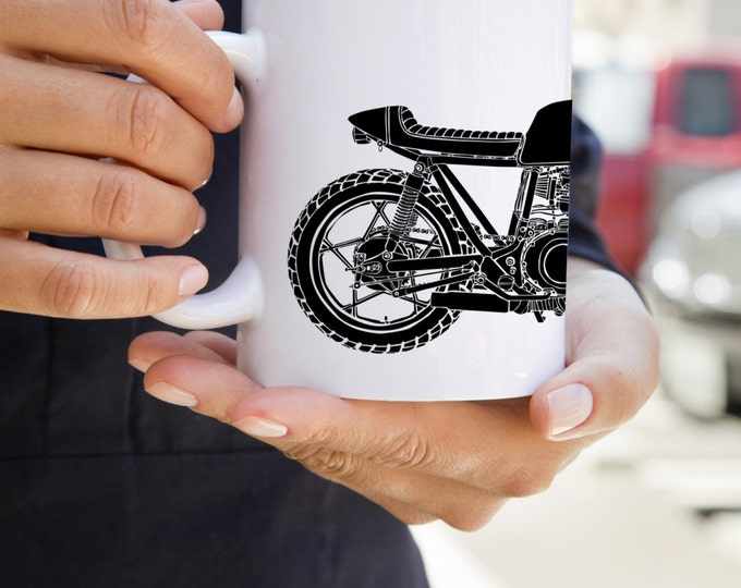 KillerBeeMoto: Limited Release Custom GS450 Cafe Racer Build By John Sinclair On White Coffee Mug
