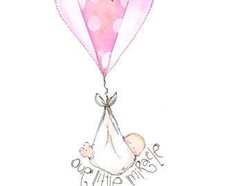 Nursery art - Newborn baby art print - Personalized baby girl art - Custom boy art - Girl nursery decor - Babies illustration art