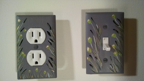 Hand Painted Light Switch Plate Outlet Cover Set Metal With