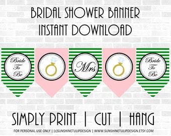 Printable Bridal Shower Banner,  Printable Kelly Green and Blush Stripe Banner, Printable Wedding Shower Banner by SUNSHINETULIPDESIGN