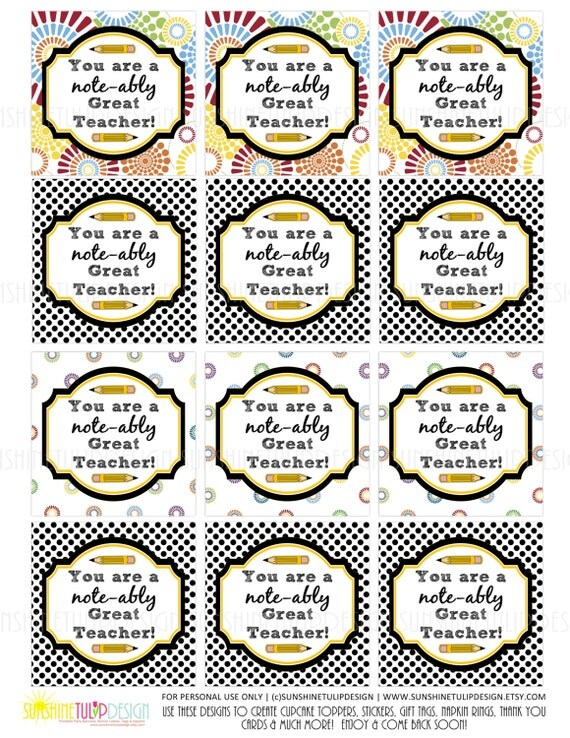Teacher Appreciation Tags Sticker Labels and Cupcake Topper