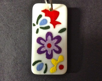 Domino, Hand Painted Domino, Floral, Charm