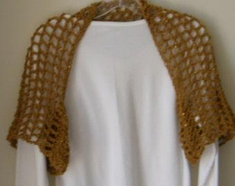 Golden Sequin Shoulder Shrug With Sleeves