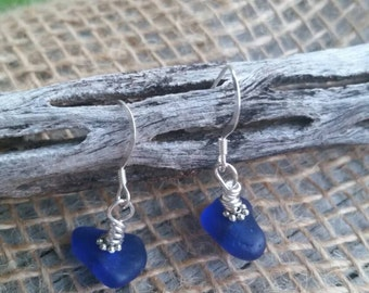 Exoticly Simple Cobalt Blue Sea Glass Earrings  SALE!!