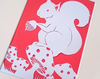 DIY Papercut Template - Squirrel's Lunch time