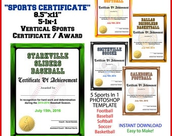 5 In 1 Sports Award Certificate Achievement Photoshop Template. Vertical.  For Football, Baseball