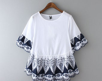 CLEARANCE! Elegant White Cotton Embroidered Blouse Top -Navy Blue Embroidery 1/2 Sleeve