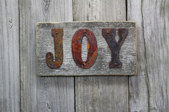 Customized Rustic Decor Upcycled Rusty Tin Sign.  JOY hand made sign ** FREE SHIPPING **