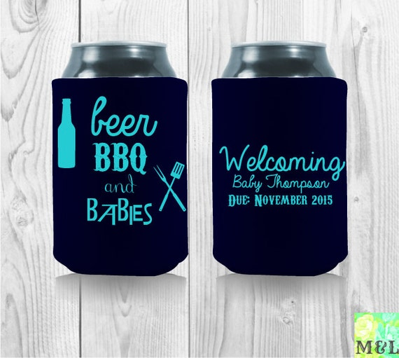 beer bbq and babies customized baby shower koozies by mintandlemon