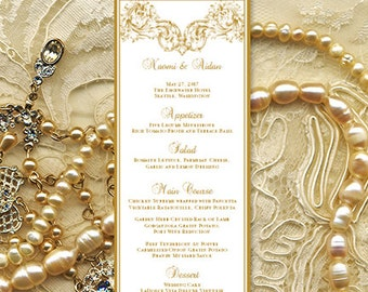 "Printable Wedding Menu Template  ""Vienna"" in Gold Microsoft Word Editable Text Instant Download Order in Any Color DIY You Print"
