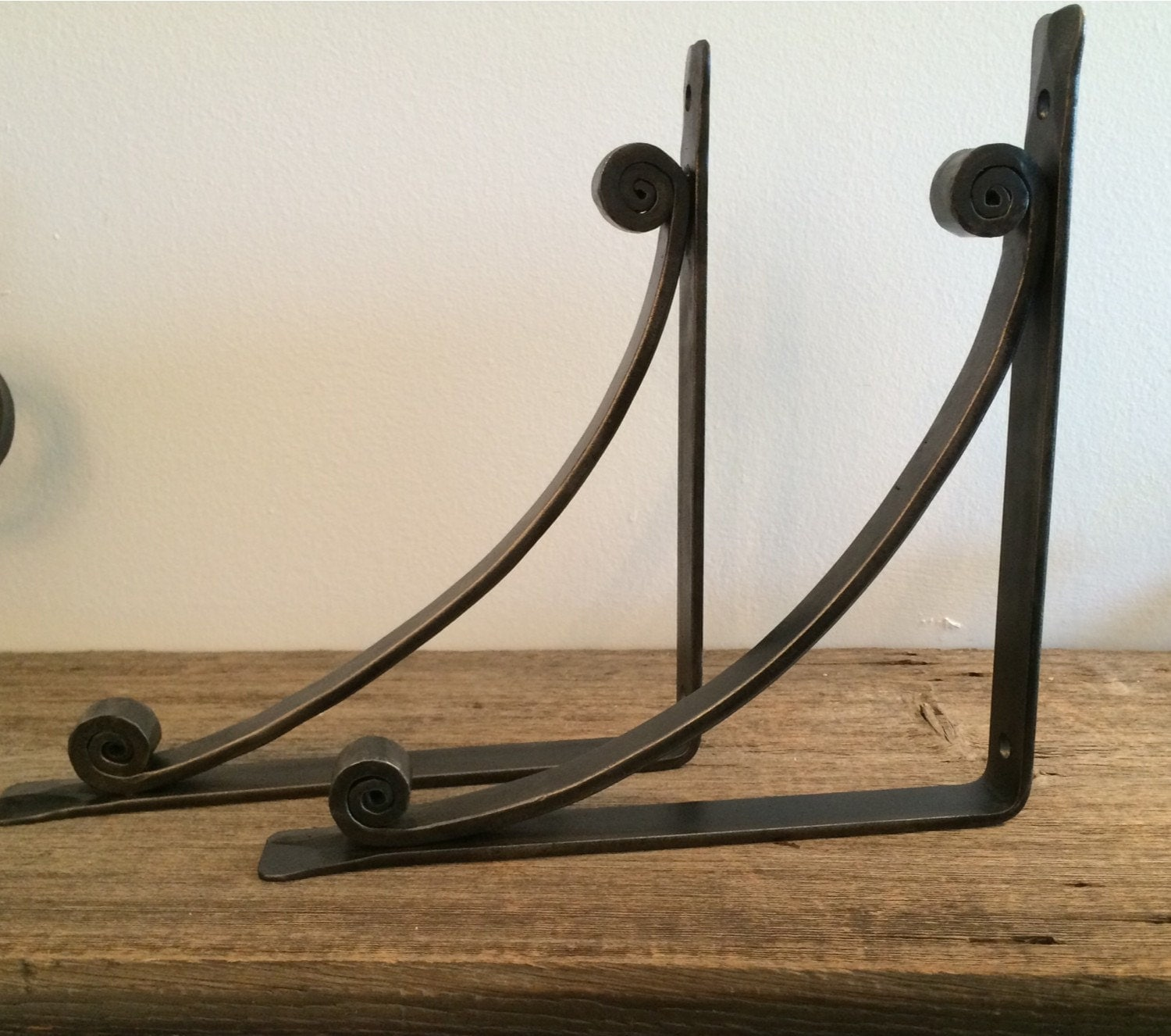 pair of wrought iron shelf brackets corbels by vermontforgings. Black Bedroom Furniture Sets. Home Design Ideas