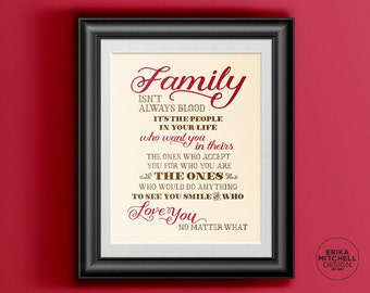 "16""x20"" // Family Isn't Always Blood Poster Quote // DIGITIAL FILE //"