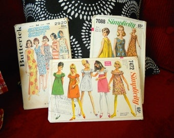 Vintage Sewing Patterns Mod 1960's Style Set of 3