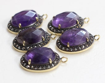 Faceted Amethyst & Black Rhinestone Pendant For Amethyst Necklace Making Wedding Party Findings Charms Gemstone Charm YHA-066