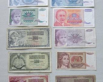 Lot of 10 Yugoslavia banknotes