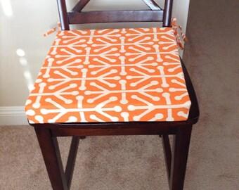 Aruba in Manderin Fabric Custom Chair Cushion Cover. Removable. Washable