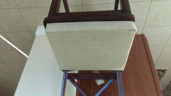 Kitchen Chair Seat Cushion Covers: Natural Linen Seat Chair Cushion Cover With Ties. Rustic