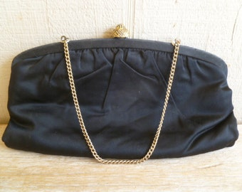 Vintage Black Evening Purse Handbag Clutch Little Black Bag