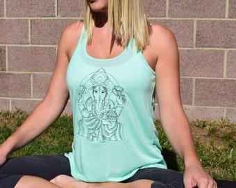 Yoga Flowy Embroidered Ganesh Shirt, Ganesha Yoga Clothes, Ganesha Shirt, Meditation Tank Top, Hinduism Tank, Custom Tank Top
