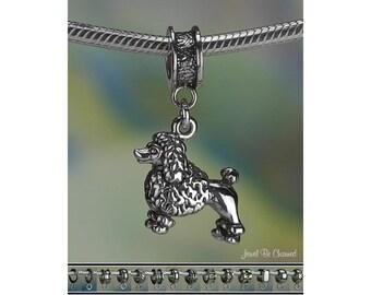 Sterling Silver Poodle Charm or European Style Charm Bracelet .925 Dog