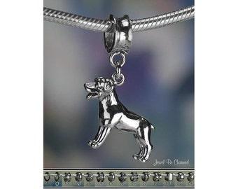 Sterling Silver Rottweiler Charm or European Style Charm Bracelet .925