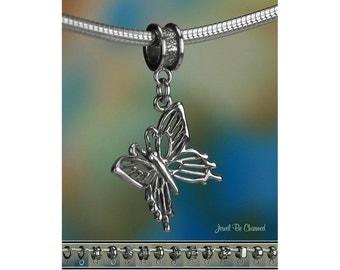 Pretty Butterfly Charm or European Charm Bracelet .925 Sterling Silver