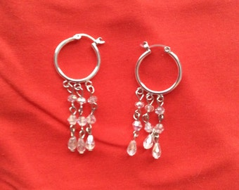 Clear hoops chandelier earrings