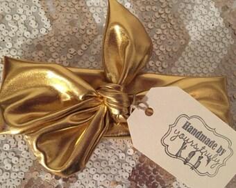 Metallic Gold Knot Headband-little girl knot headband-newborn-infant-toddler-gold headband-baby girl knot headband-made to order