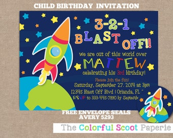 Outer Space Birthday Invitation, Outer Space Birthday Party, Stars, Planet, Moon (#332)