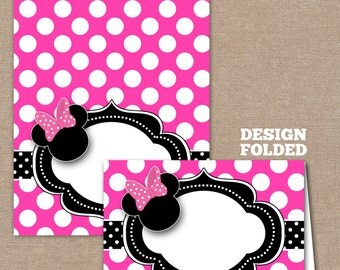 Minnie Mouse Food Labels, Minnie Mouse Buffet Labels, Minnie Mouse Tent Cards, Minnie Mouse Place Cards, Hot Pink (#209)