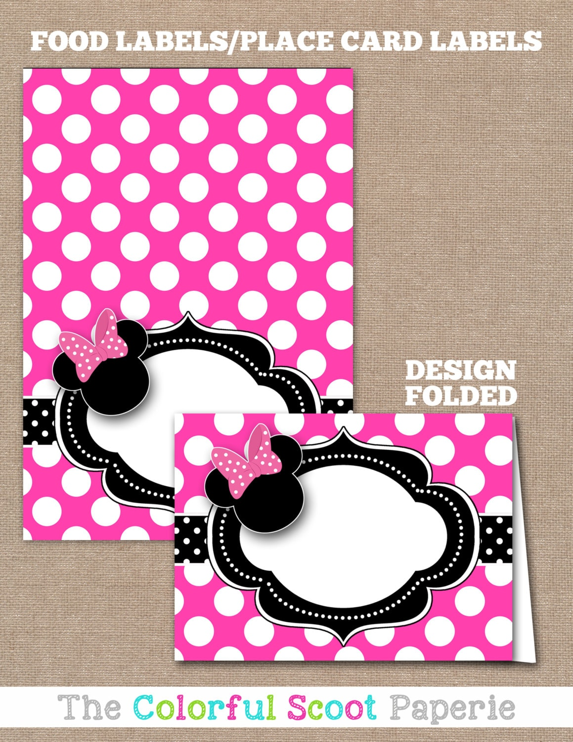 Minnie Mouse Food Labels Minnie Mouse Buffet Labels Minnie