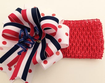 Stretchy July 4th Red, White and Blue Headband for Babies