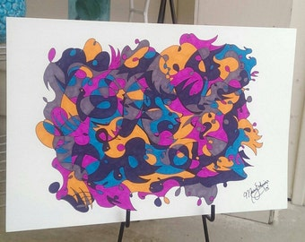 Large Original Abstract Marker Drawing Series 1 Free Shipping