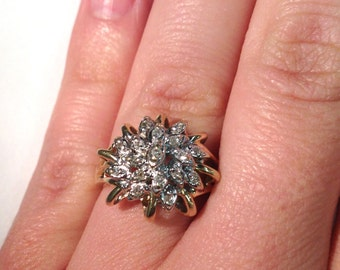 Stunning Vintage Diamond Cluster Ring 14k white and yellow gold
