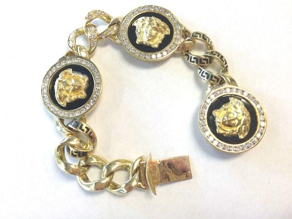 Versace Vintage RARE massif 18K méduse or jaune diamant Onyx Bracelet , mise de côté en