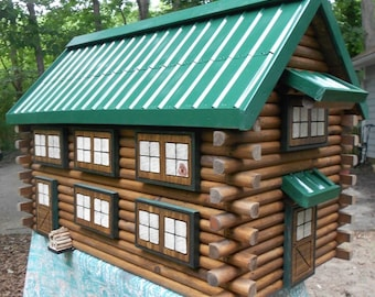 Large Log Cabin Mailbox, handcrafted from logs, green metal roof mailbox, engraved house number mailbox