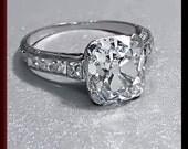 Antique Vintage Art Deco Platinum Cushion Cut Diamond Engagement Ring Wedding Ring