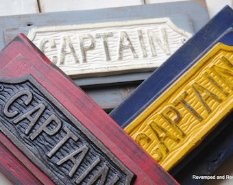 Wooden Sign - Wall Plaque - Fireman Decor - Captain's Quarter's Sign - Handcrafted from Reclaimed Wood - Wall Decor- Sign - Made to Order