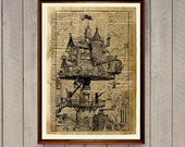 Fantasy poster Steampunk decor Vintage illustration Dictionary print WA812
