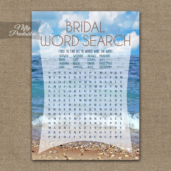 Wedding Word Search: Word Search Game Ocean Bridal Shower Games Printable
