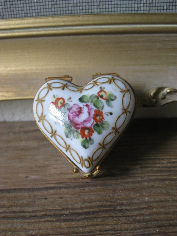 Antique Limoges Porcelain Box Heart Shaped Limoges Trinket