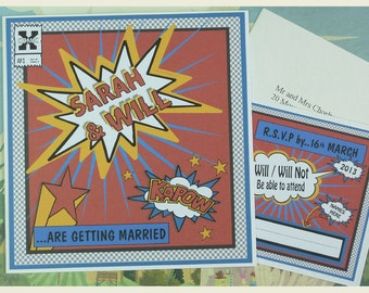 Comic Book Wedding Invitation, Quirky Wedding Invitation, Unique Wedding Invitation, Retro Wedding Invitation, SAMPLE