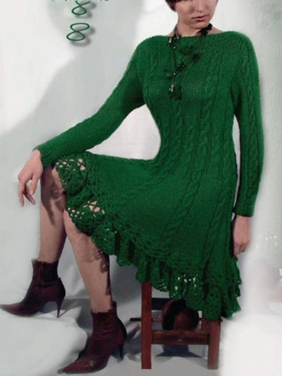 Hand Knitted Dress Patterns : Hand Knit Women dress sweater coat aran jacket women made to