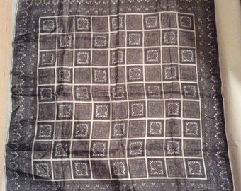Vintage 1970s Gray Silk Scarf/Handkerchief with Paisley Border/Pocket Square