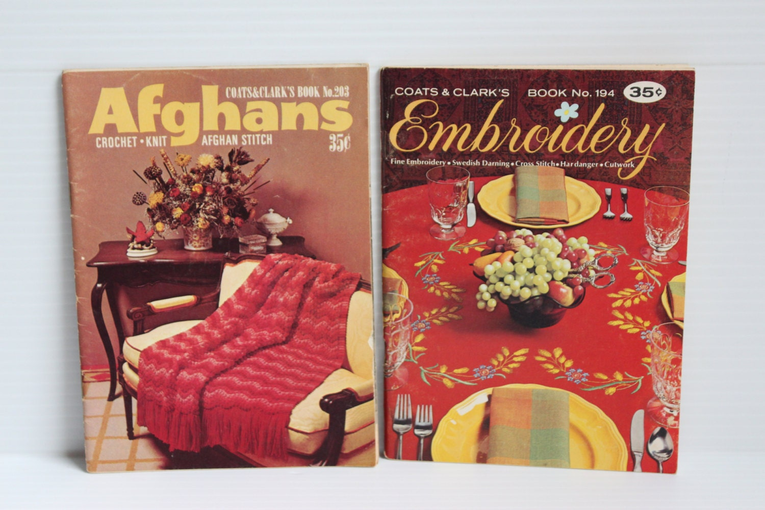 Afghan and embroidery patterns vintage pattern book