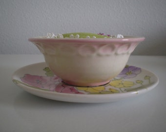 Pink Floral Finger Bowl Pincushion