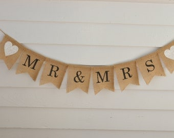 Rustic Woodland Farmhouse Mr & Mrs Burlap Banner - Great Wedding Engagement Photo Prop - Bridal Party Table Sign