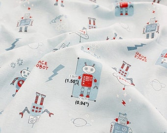 Cotton Jersey Knit Fabric Robot By The Yard