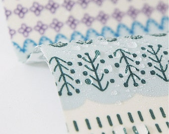 retro bamboo cotton and linen fabric  blue and white
